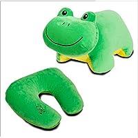 HuaQingPiJu-JP 30x35cmぬいぐるみU形の枕の泡ぬいぐるみの枕のカエル動物柔らかいおもちゃの変形子供のための旅行枕(緑)