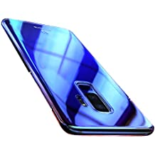 Samsung Galaxy S9 Case, FLOVEME Slim Fit Gradual Colorful Gradient Change Color Ultra Thin Lightweight Electroplating Bumper Anti-Drop Clear Hard Back Cover Holder, Transparent Blue