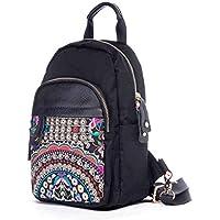 CXQ エスニックスタイルの女性のバックパックオックスフォードの布のバックパック手作りの刺繍のリュックサックのバックパックの旅行のバックパック
