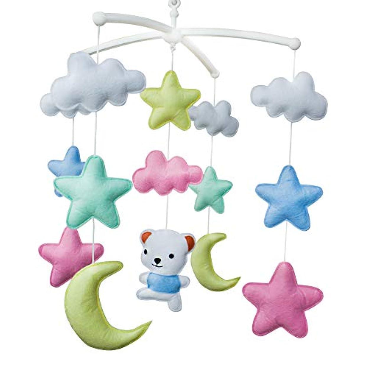 柔らかい非常に猫背手作りのカラフルなスタームーンベア赤ちゃんベビーベッドモバイル保育室の装飾ミュージカルモバイルベビーベッドのおもちゃ男の子
