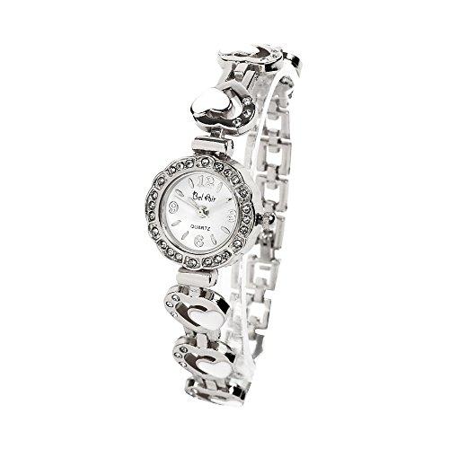 【ベルエア】Bel Air Collection DNS11 キラキラ輝くラインストーンウォッチ ラウンドフェイス ハートベルト ブレスレット風 レディース 腕時計 (シルバー)