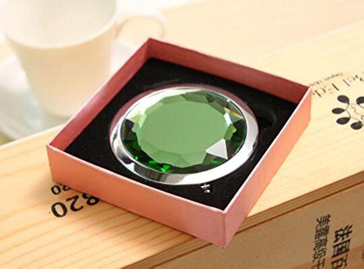 権威アセンブリプロペラHJ 両面 コンパクトミラー 折りたたみ 手鏡 拡大鏡付きメタル デコラティブ 携帯ミラー ハンドミラー (緑)