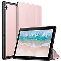 Huawei MediaPad T5 ケース Infiland Huawei 10.1インチ MediaPad T5 三つ折 PU素材 薄型 超軽量 手帳型 傷つき防止 (ローズゴールド)