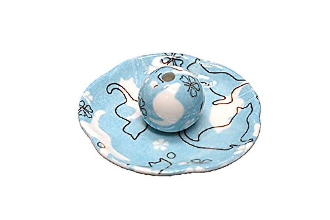 有益皿ケーキねこランド ブルー 花形香皿 お香立て ネコ 猫 ACSWEBSHOPオリジナル