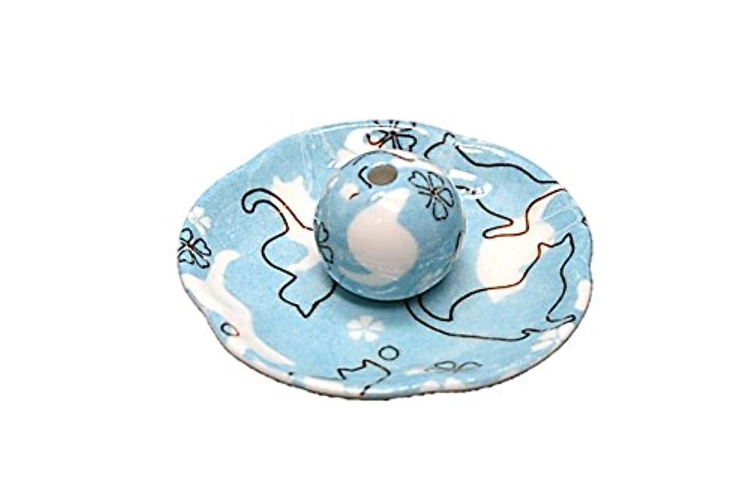 フットボール形状添付ねこランド ブルー 花形香皿 お香立て ネコ 猫 ACSWEBSHOPオリジナル