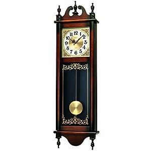 セイコー クロック 掛け時計 アナログ 報時選択式 チャイム&ストライク 長尺 飾り振り子 アンティーク調 木枠 茶 木地 RQ306A SEIKO