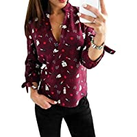 QIYUN.Z Women Long Sleeve Tie Knot Deep V Neck Floral Printed T-Shirt Comfy Tunic Casual Blouse Tops