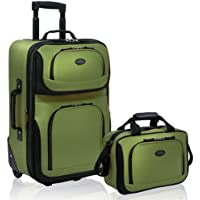 U.S. Traveler Rio Carry-on Lightweight Expandable Rolling Luggage Suitcase Set, Green (Green) - US5600