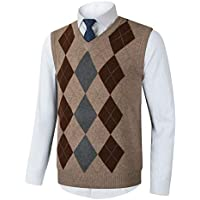 Yingqible Mens Casual Knitted Tank Top V-Neck Sleeveless Vest Sweater Knitwear Argyle