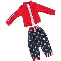 SONONIA  カジュアル 赤 ジッパー付き コート スター パンツ  12インチブライスドール用  スポーツ服