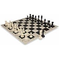 Theチェスストアマスターシリーズプラスチックチェスセットブラック&アイボリーチェスピースwithブラック& Buffロールアップチェスボード