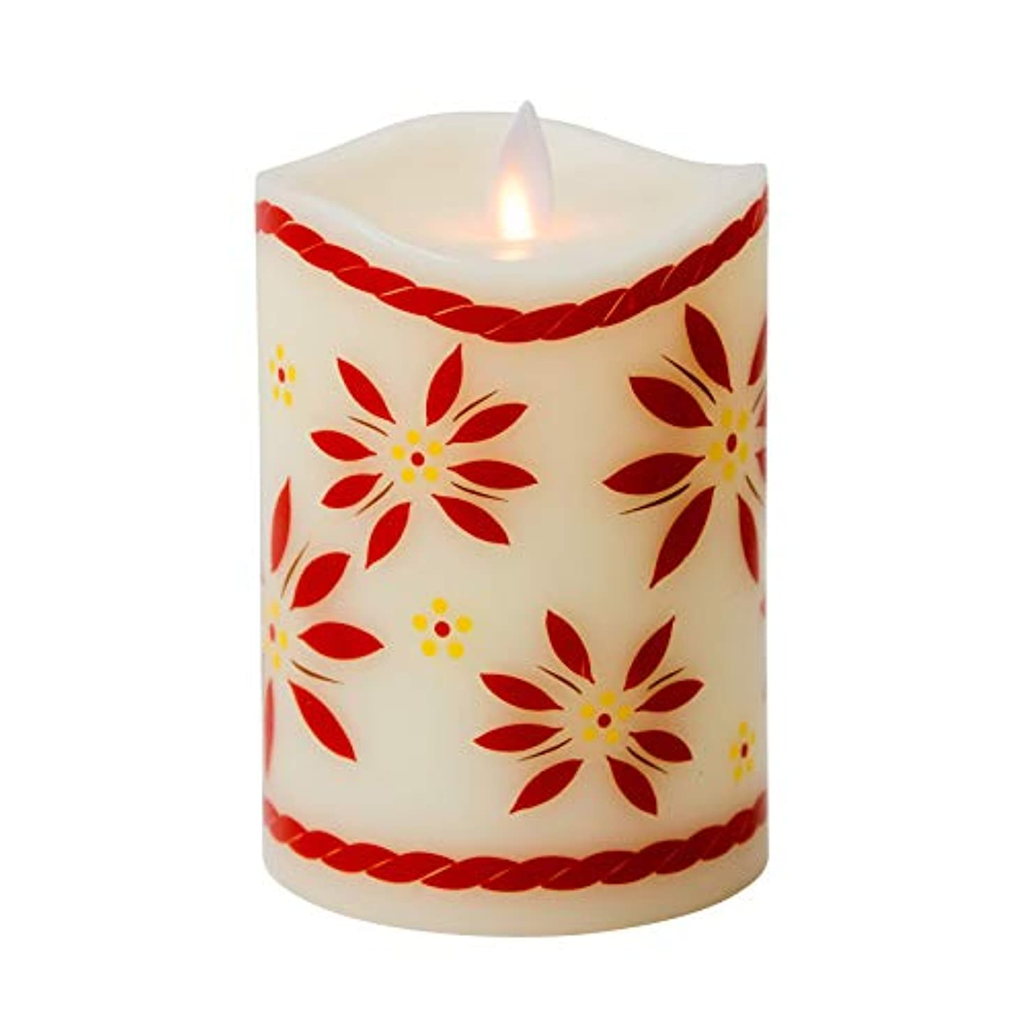 リサイクルする硫黄宝石Boston Warehouse temp-tations by Tara Mystiqueパラフィンワックス5インチOld World Flameless Pillar Candle レッド 40441