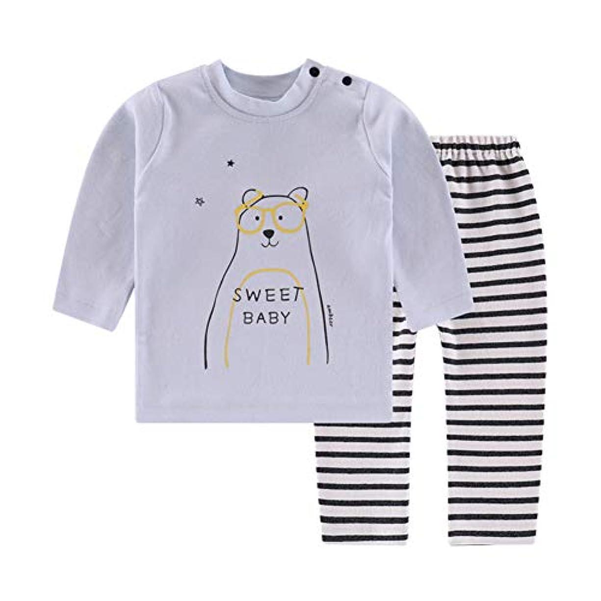 系譜入浴温帯Mornyray ベビー服 ルームウェア Tシャツ ロングtシャツ カットソー 部屋着 長袖 ズボン 帽子 2点セット 男の子 女の子 幼児 0-2歳 size 12M (ブルー)