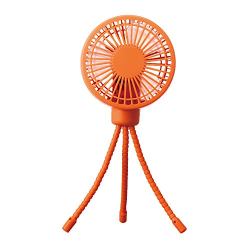 ドウシシャ 携帯扇風機 お出かけファン 2電源(USB 充電式) 風量3段階 ピエリア オレンジ FSU-92B OR