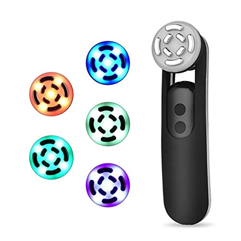 独創的社会主義湿気の多いフェイシャルマッサージイオンフェイシャルクレンジングアンチエイジングファーミングスキンマイクロショックテクノロジー5色LEDライト若返りしわ美容機器,Black