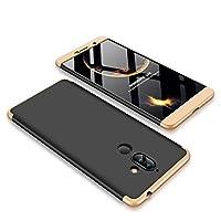 FaLiAng Nokia 7 Plusケース、超薄型3 in 1の取り外し可能なアンチスクラッチPCハードケース360°フルボディ耐衝撃保護ケースカバー、Nokia 7 Plus(ブラック、ゴールド)