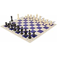 Value Club Plastic Chess Set & Board with Black & Ivory Pieces - Blue by The Chess Store [並行輸入品]