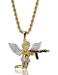JINAO 18Kゴールドメッキ 番長の系 槍ネックレス エンジェルネックレス ペンダント ネックレス Hip Hop Gun Angel Pendant Necklace