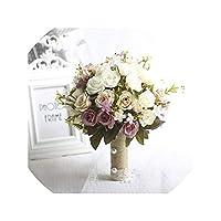 Pic8として、結婚式の装飾のための新しいパープルホワイトウェディングブーケ手作りの人工花ローズブーケカサメントブライダルブーケ