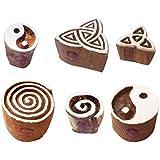 紙 印刷スタンプ 都市 円形 Swirl モチーフ ウッドブロック (のセット 6)