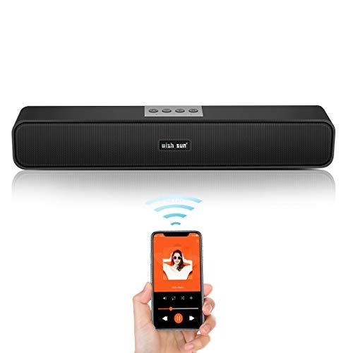 PCスピーカー サウンドバー 【2019年最新版!臨場感高音質】 Bluetooth5.0 大音量 重低音 USB給電 AUX接続 ワイヤレス接続 パソコン/スマホ/テレビ/ゲーム機 長時間連続再生可能 マイク内蔵 内蔵バッテリー Speaker 品質保証
