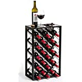 Mango Steam 23 Bottle Wine Rack with Glass Table Top, Black
