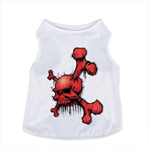 PAWZ Road 犬 服 小型犬 中型犬 ドッグウエア Tシャツ 3D模様 おしゃれ おもしろ い かわいい かっこういい 白 い 無地 あつらえでき -WH19赤い骸骨 S