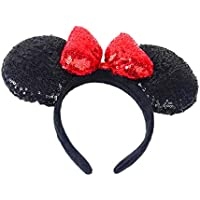 WLFY Mickey Mouse Minnie Mouse Sequin Ears Headbands Butterfly Glitter Hairband (3D black red)