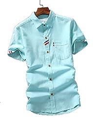 【Smile LaLa】 メンズ シャツ シンプル カジュアル きれいめ キレカジ 無地 ワンポイント ボタン 襟付き 春服 夏服 男性