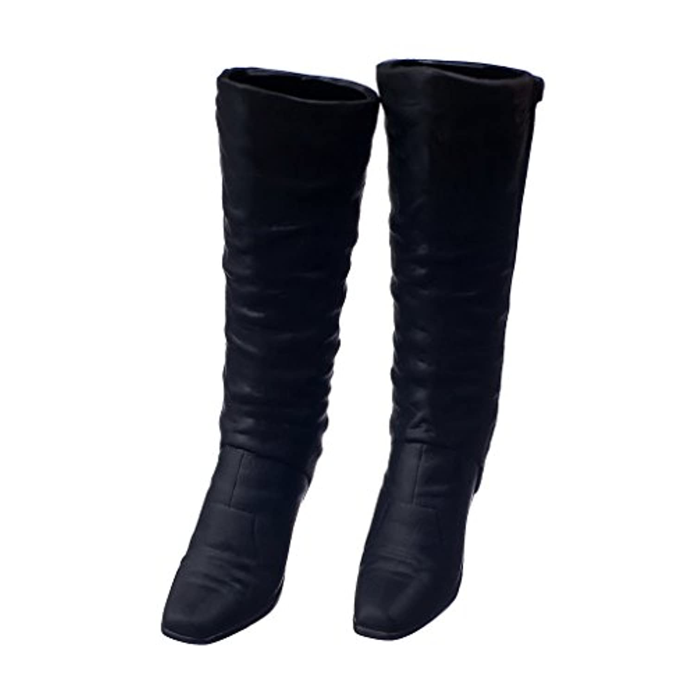 【ノーブランド品】フィギュア 本体 黒 1/6スケール ハイヒール ロングブーツ 靴