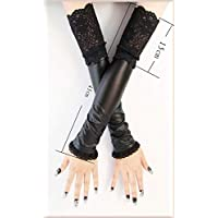 Womens Elbow Length Punk Fingerless Lace Up Arm Warmer Gloves Protection (Color : Black, Size : XXL)