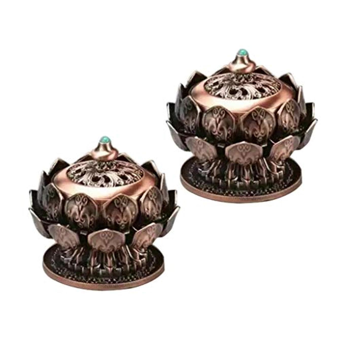 キャッシュ悪意フレームワーク2個 合金 アンティーク 香炉 アロマセラピー 香炉 蓮 銅