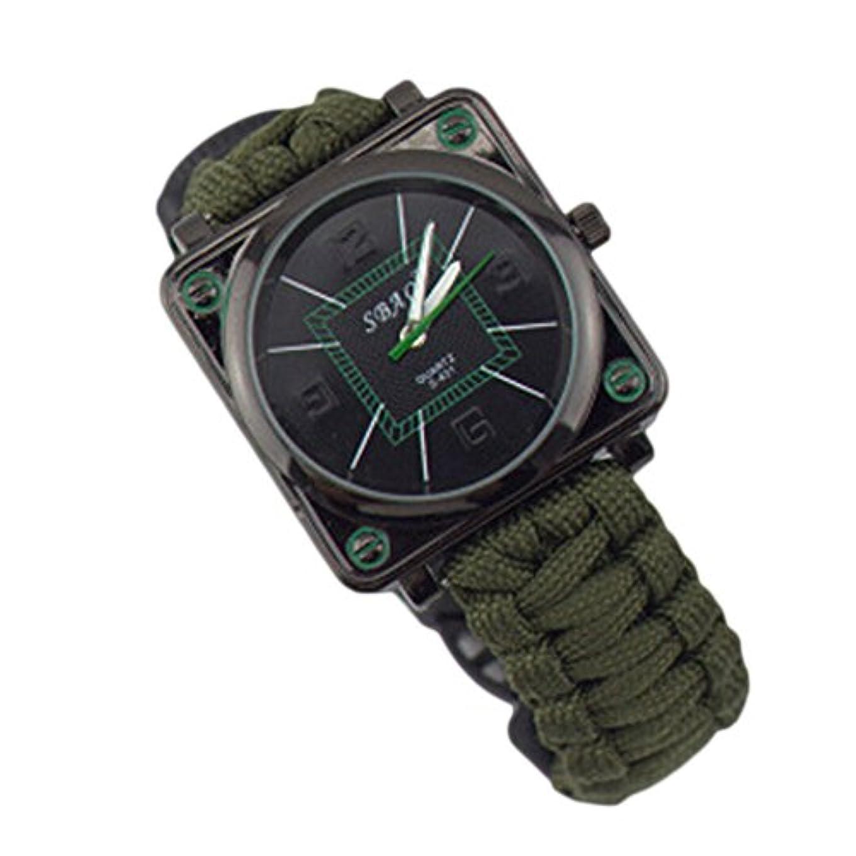 保安災難思い出すWangyueShop 多機能 生存ホイッスルフリント コンパス サバイバル ウォッチ アウトドア クライミング キャンプ 旅行用 腕時計 H02
