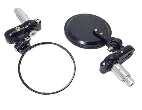 バーエンド ミラー 左右 セット 丸型 ブラック オートバイ バイク カスタム 汎用