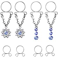 Lovoski Pack of 8 Rhinestone Fake Nipple Rings Adjustable - Non Pierced Cilp on Nipple Studs Body Jewellery Piercing
