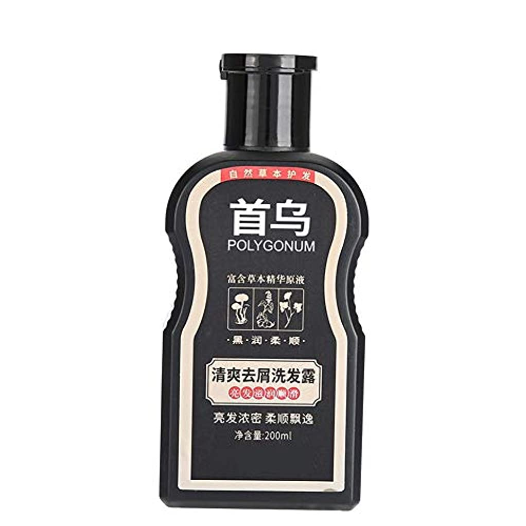 振幅クラックポットハッチPolygonum Multiflorumシャンプー、ふけ防止掻痒防止200ml、オイルコントロールモイスチャライジングヘアシャンプー、傷んだ髪を養い、修復するため、黒く滑らかに、そして稠密にする
