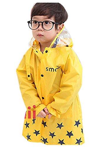 動物さんのレインコート 男の子レインコート カッパ 雨具 カッパ 雨具 新学期用 子どもレインコート (L, イエロー)