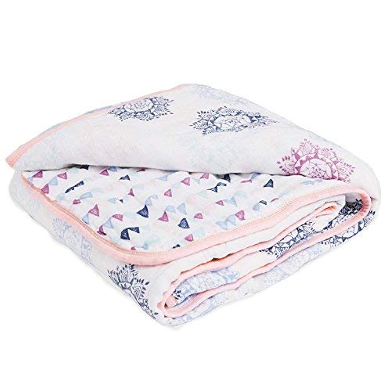Aden by Aden + Anais Classic Sleeping Bag 100% Cotton Muslin Wearable Baby Blanket Medium 6-12 Months Pretty Pink 【joybaby】 [並行輸入品]