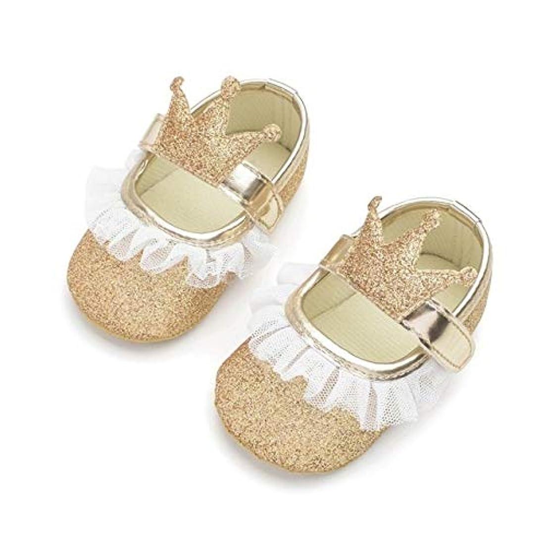 決済仮定、想定。推測以前はベビーシューズ Hwj女の赤ちゃんは、レースPUレザープリンセス新生児クラウンシューズシューズサイズ:13センチメートル(ゴールド) (Color : Gold)