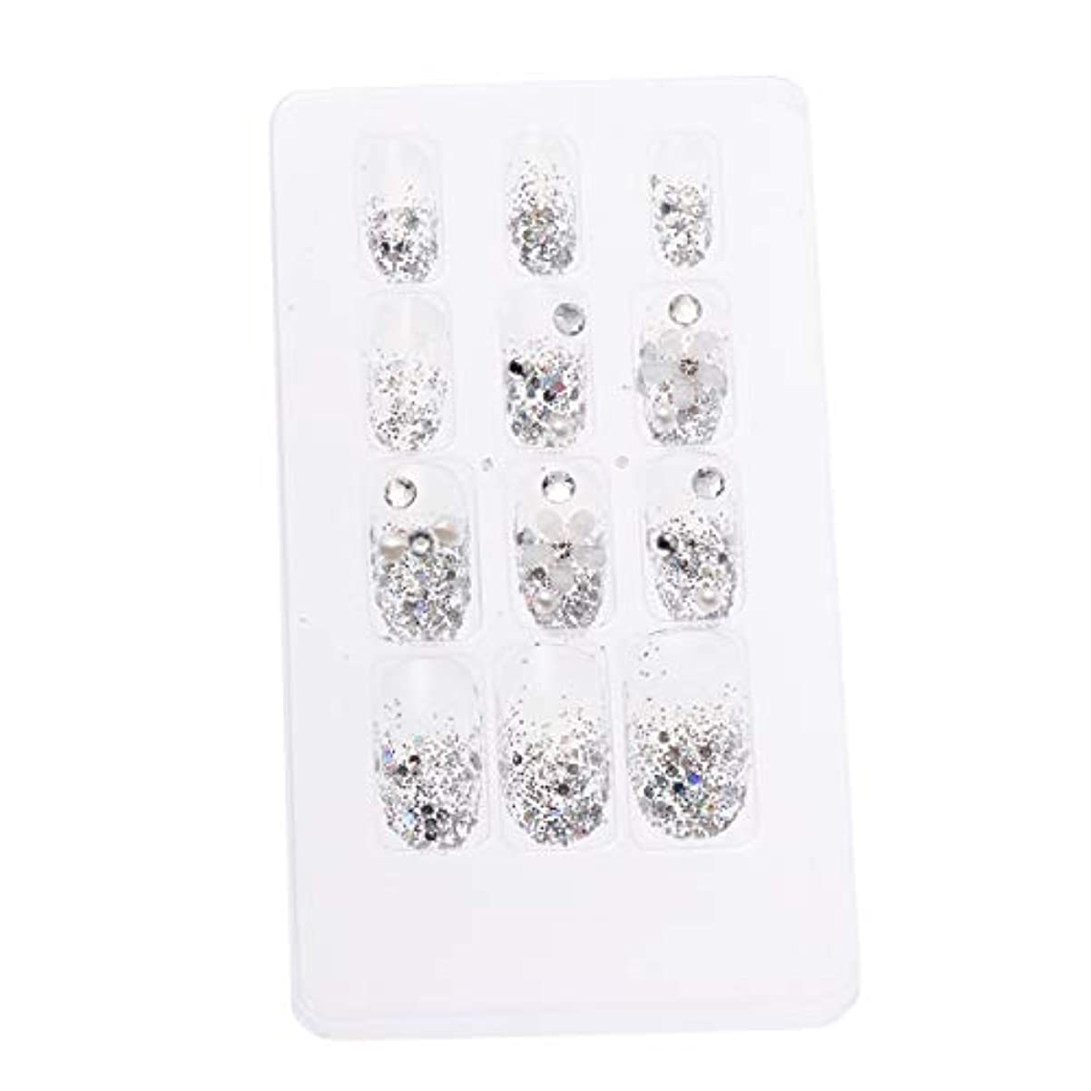 傾向がある決定するラインLURROSE 24ピースネイルステッカー 人工ダイヤモンド装飾ネイルアート用ブライダル女性
