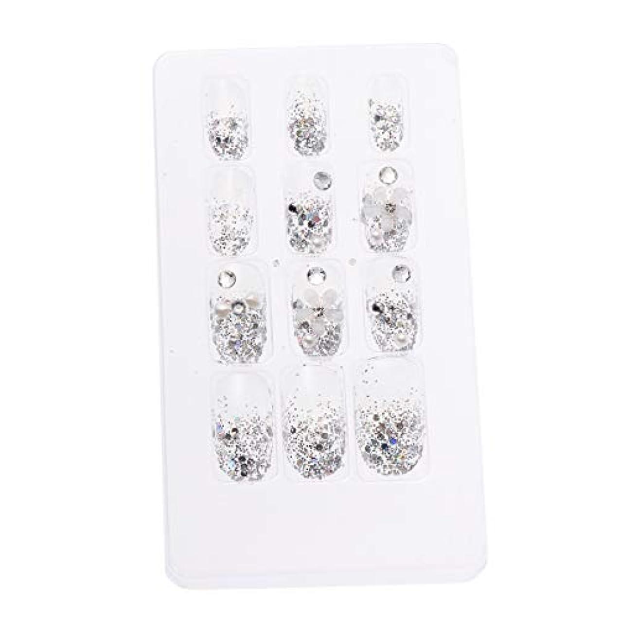 応じる法律により慈悲深いLURROSE 24ピースネイルステッカー 人工ダイヤモンド装飾ネイルアート用ブライダル女性