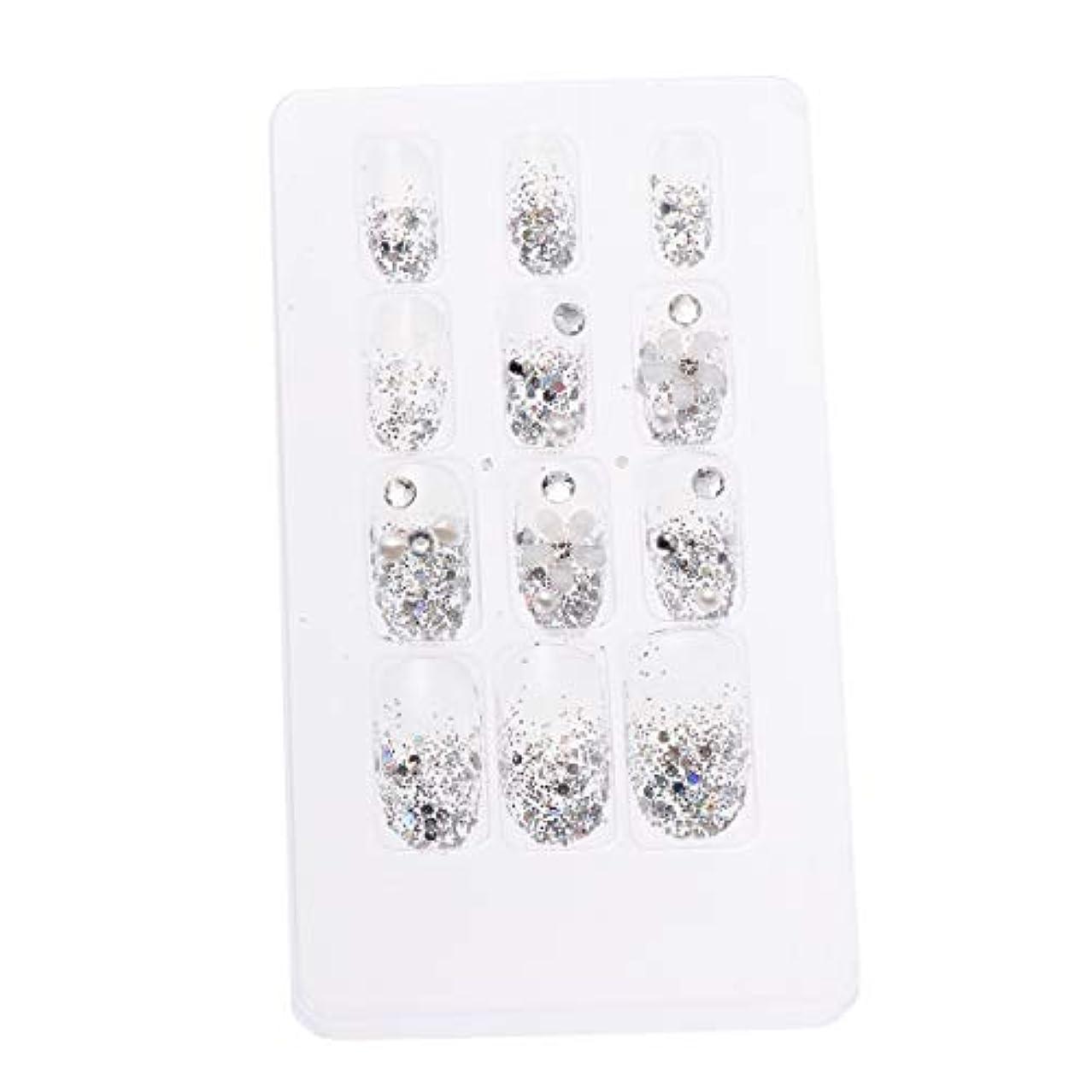 おそらく不愉快近代化LURROSE 24ピースネイルステッカー 人工ダイヤモンド装飾ネイルアート用ブライダル女性