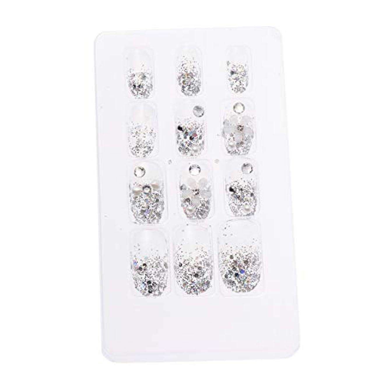 我慢する文字通り胃LURROSE 24ピースネイルステッカー 人工ダイヤモンド装飾ネイルアート用ブライダル女性