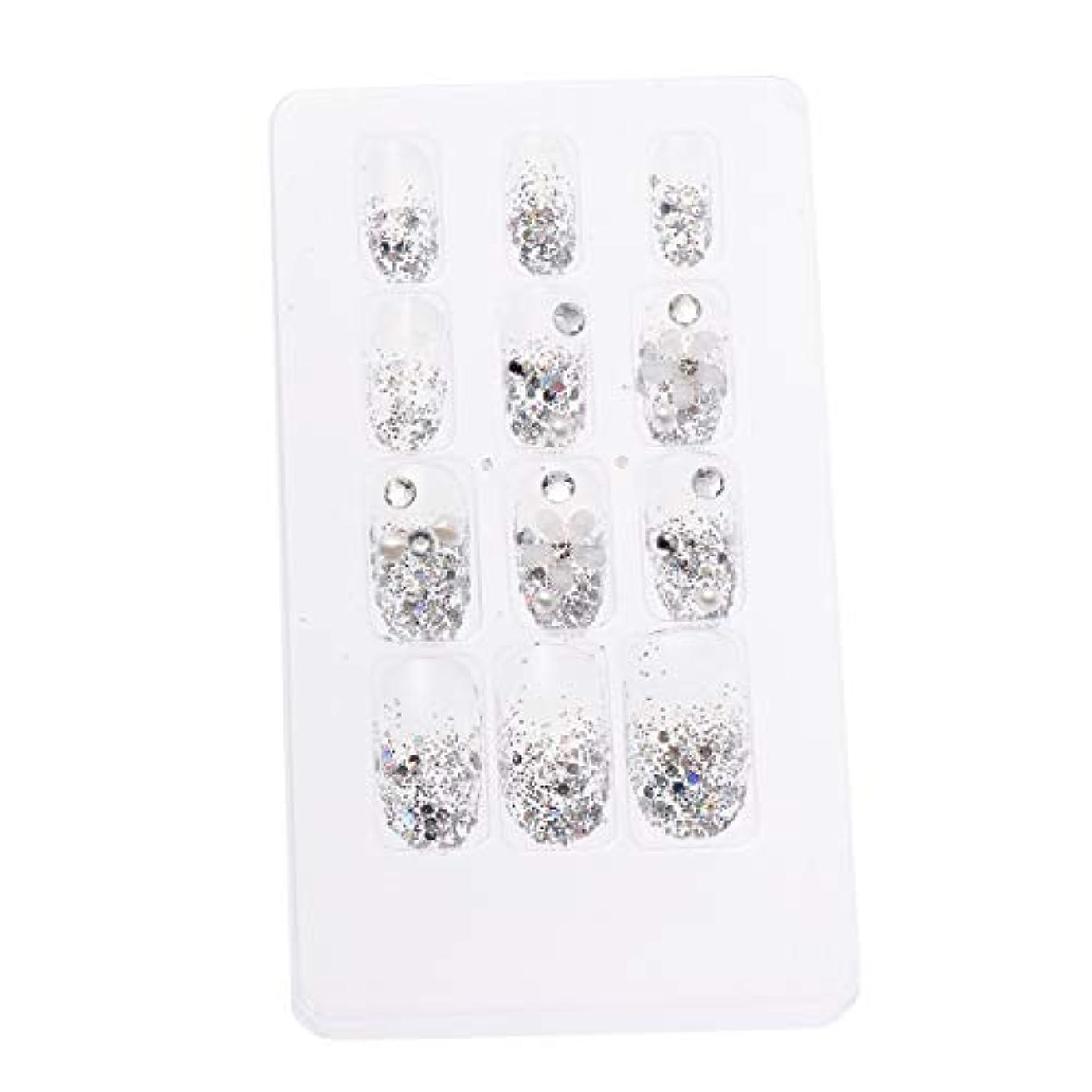 LURROSE 24ピースネイルステッカー 人工ダイヤモンド装飾ネイルアート用ブライダル女性
