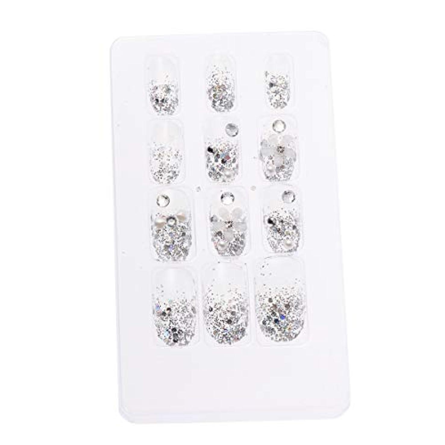 ボイコット世論調査直接LURROSE 24ピースネイルステッカー 人工ダイヤモンド装飾ネイルアート用ブライダル女性