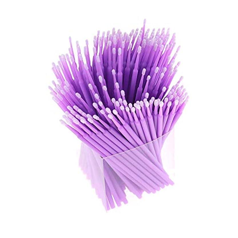本気暴徒ピカソRETYLY 200本、アプリケーター、まつげ用綿棒、マイクロ-ブラシ、使い捨てマイクロ-ブラシ、延長化粧工具-パープル