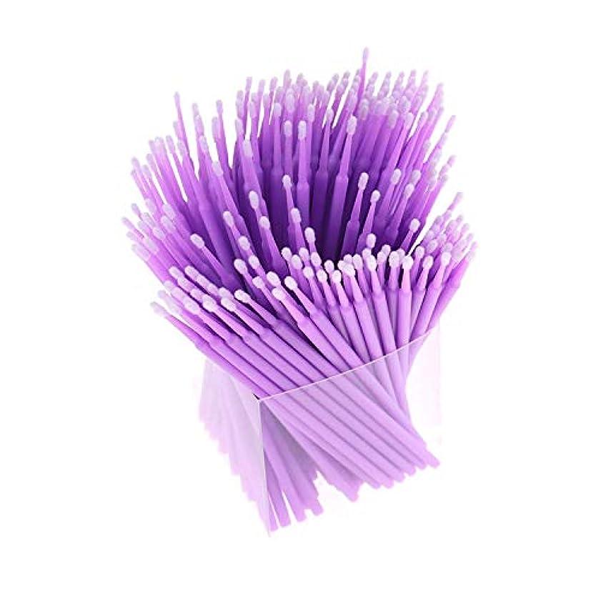 台無しに感性前進RETYLY 200本、アプリケーター、まつげ用綿棒、マイクロ-ブラシ、使い捨てマイクロ-ブラシ、延長化粧工具-パープル