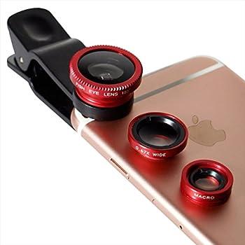 オウルテック iPhone各種スマートフォン対応 セルカレンズセット (マクロ・魚眼・ワイド) レッド 収納袋付 OWL-MALENS01-RE