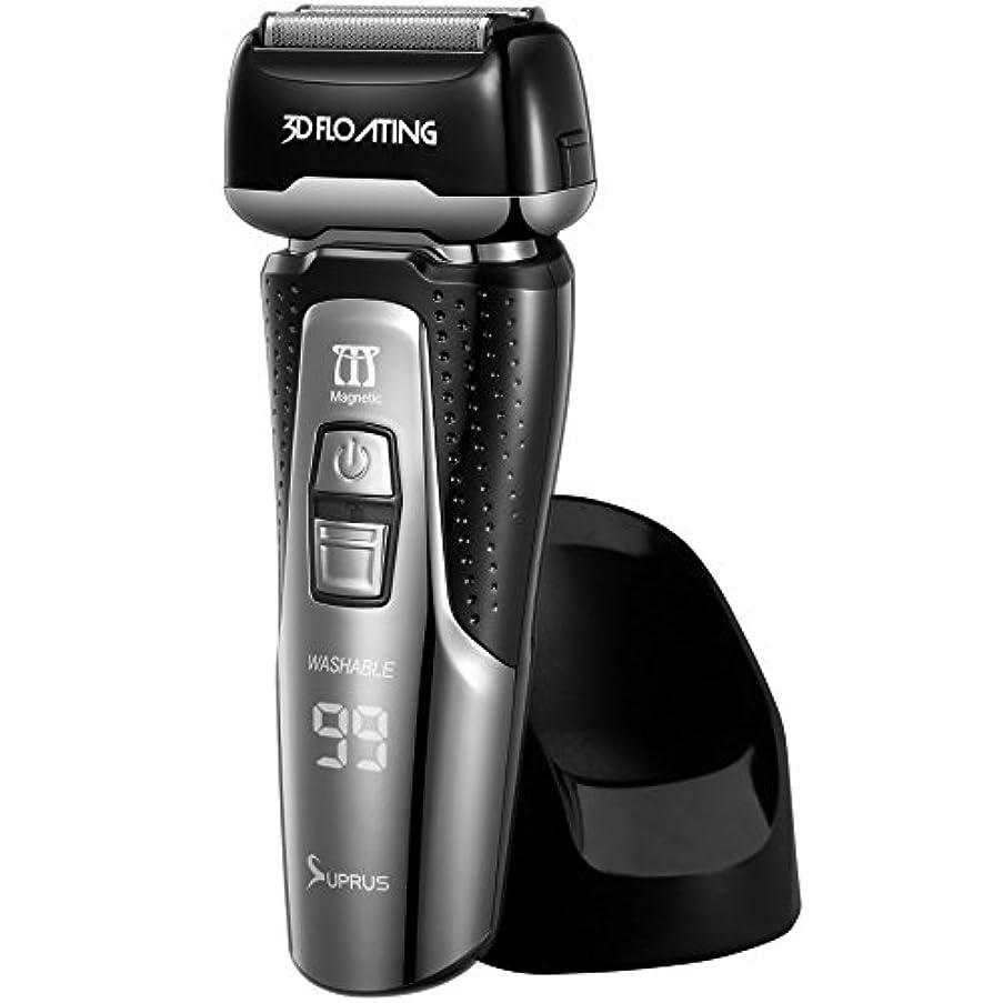 散髪名誉あるブロックするSUPRUS メンズ シェーバー 電気 カミソリ 電動 ひげそり 自動研磨 トリマー付属 3枚刃 お風呂剃り 丸ごと 水洗い可 リニアモーター搭載 14000CPM IPX7防水 カラー段ボール