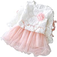 Halau 2 PCS Clothes Set Kids Toddler Baby Girls Lace Princess Tutu Dress Clothes Outfits Party Casual Clothes